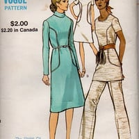 Vintage Retro Boho Hippie Style Dress Tunic Pants Vogue 8001 Sewing Pattern 1970s Long Sleeve High Neck A-line Uncut Bust 34