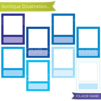 Blue Polaroid Frames Clipart Set. Blue Frames Clipart Digial Graphics for Personal and Commercial Use* Png, Jpeg, Eps Included
