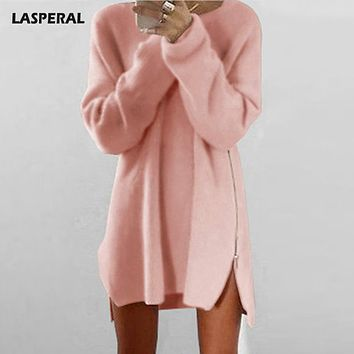 LASPERAL 2017 Autumn Winter Side Zipper Long Sweater Women Fashion Long Sleeve Knitted Sweater Femme Casual Streetwear Pullover