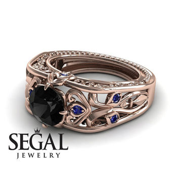 Unique Engagement Ring 14K Red Gold Art Deco Ring Filigree Ring Black Diamond With Sapphire - Skyler