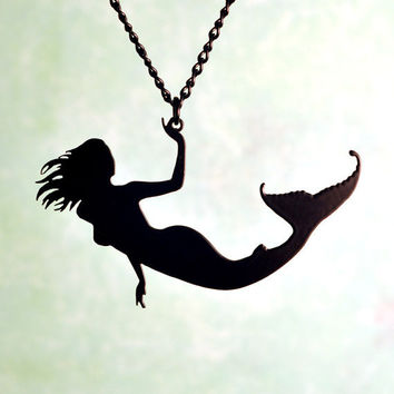 Mermaid necklace in black stainless steel - nautical siren sea creature silhouette jewelry