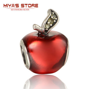 snow white apple silver charm red enamel dark green cz silver 925 diy spacers for bead bracelets chain for necklaces lw566