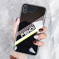 Fendi New fashion more letter print protective cover phone case Black