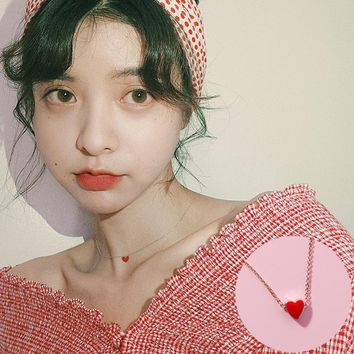 Japan Korea Enamel Red Love Heart Choker Necklaces Simple Gold Chain Glaze Heart Pendant Necklace for Women Valentine's Day Gift