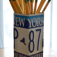 New York License Plate Pencil Holder - Pencil Cup - Unique Pencil Cup - Desk Accessories - Office Decor - Pen Cup - Pen Holder - NY