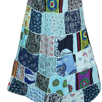 Womens Skirt Vintage Patchwork Peasant Boho Long Skirts L