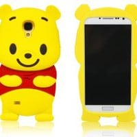 Boriyuan Samsung S4 Case Cute Cartoon 3D Winnie the Pooh Soft Silicone Skin Case Cover for Samsung i9500 Galaxy S4