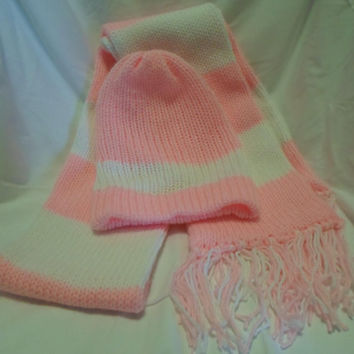 Soft Pink and White Striped Hand Knitted Hat and Scarf Set