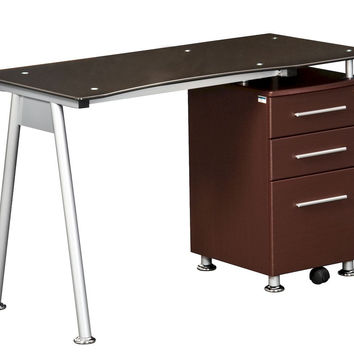 Techni Mobili Glass-top Desk with Built-in File Cabinet - Chocolate Brown