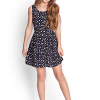FOREVER 21 GIRLS Floral Print Woven Dress (Kids) Navy/Cream