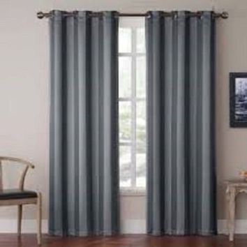 (#32) Hotel Quality SILVER Grommet Top, FAUX SILK  1 PANEL CHARCOAL SOLID THERMAL FOAM LINED BLACKOUT HEAVY THICK WINDOW CURTAIN