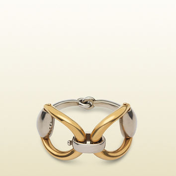1e00699981359 Gucci - horsebit bracelet in aged silver and gold 380961J8H408122