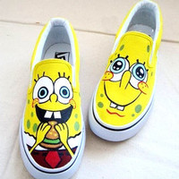 XZ01 SpongeBob HandPainted Girl's women canvas Sneaker Shoes