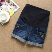 Comfortable Casual Denim Maternity Short Pants Great for Pregnant Women = 1946984388