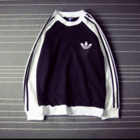 Adidas Fashion Casual Long Sleeve Pullover Splicing Sweater