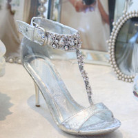 Bridesmaid Shoes, Silver Heels, dressy sandals, Glitter Pumps, Silvershoe 500-27 #prom #promdress #prom2015 #promshoes #silvershoes