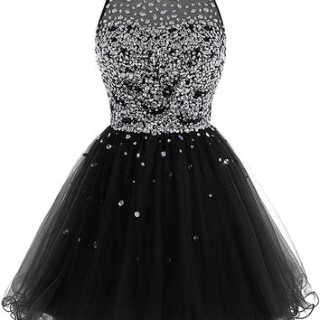 Women's Short Beaded Prom Dress Tulle Applique Homecoming Party Dress