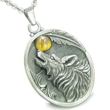 Amulet Howling Wolf Tiger Eye Moon Gemstone Oval Shape Fine Pewter Lucky Charm Pendant Necklace