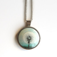 Delicate Dandelion Necklace, Pendant, Hand Painted Jewelry, Charm with Silver Plated Cable Chain