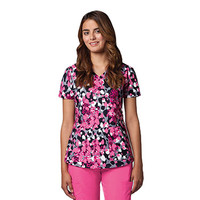 Grey's Anatomy Womens V-Neck Flower Print Scrub Top