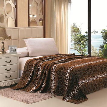 Selva Animal Print Ultra Soft Brown Leopard Full Size Microplush Blanket