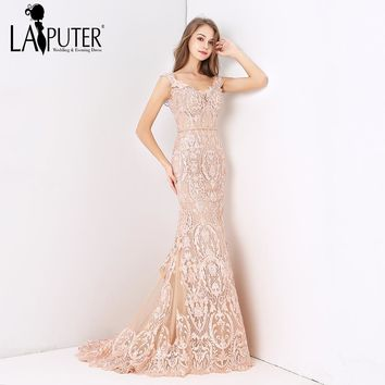 Laiputer 2018 Sexy Mermaid V-neck Luxury Beading Pearls Dusty Pink Lace Crystal Vintage Arabic Long Formal Evening Prom Dresses