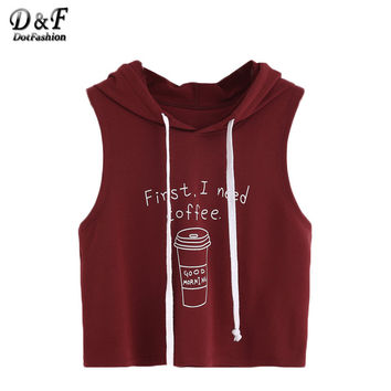 Dotfashion Tank Tops Women Summer Streetwear Loose Top Women Sleeveless Burgundy Coffee Print Crop Hooded Tank