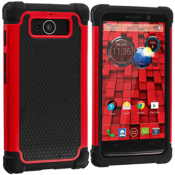 Black / Red Hybrid Rugged Armor Protector Hard Case Cover for Motorola Droid Mini XT1030