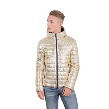 Mens hooded leather down jacket gold color TEO