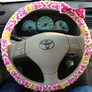 Steering Wheel Cover Floral Damask Fabric w/Your Bow Color Choice