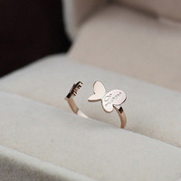 Love Butterfly Open Mouth Ring