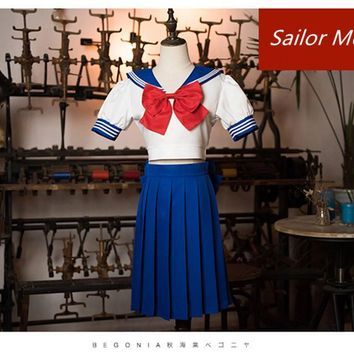 Japanese Cartoon Sailor Moon Costumes Tsukino Usagi Blue School Uniforms Short Sleeves Dress Role Play Fancy dress any size