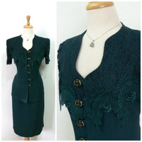 Vintage Suit 2 pc set Emerald, Lace Embroider Fitted blazer Pencil skirt Large