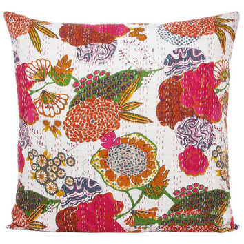 24x24 White Handmade Kantha Pillow, Kantha Decorative throw Pillow, kantha cushion cover, Floral Pillow Cushion, Indian Cotton sofa Pillow