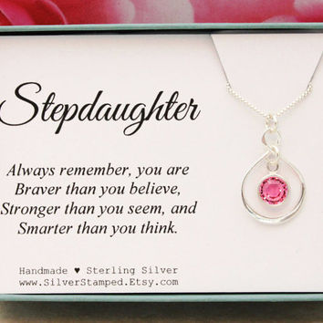 Gift for Stepdaughter necklace sterling silver infinity birthstone necklace  Birthday Gift Christmas gifts You are braver than you think