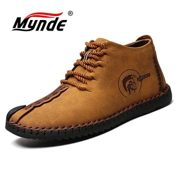 Mynde Warm Winter Men Boots High Quality Split Leather Snow Boots Casual Men Shoes Plush Fashion Rubber Ankle boots size 38~48