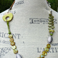 Greens. Ceramic  pendant, Czech Picasso glass, leather and silver metal necklace.