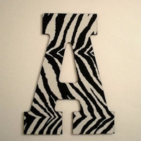 ZEBRA PRINT LETTERS - Large Decorative Zebra Print Wall Letters, Initials or Words - 13 inch