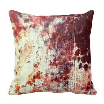Rusty Orange and Brown Grungy Textured Abstract Pillows