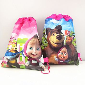1pc 36*27cm Masha and Bear Gift Bag Non-Woven Fabric Drawstring Backpack Loot Bag Birthday Party Supplies Party Favors