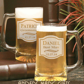 One or Two Personalized Groomsmen 15 oz Wedding Beer Mug Barware Gift * Toasting Pint Beer Glasses for Groomsmen, Father & Bridal Party