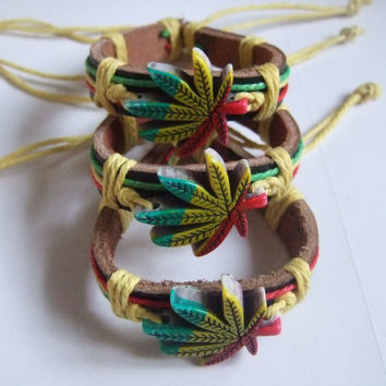12pcs Rasta Style Hemp Weed Leaf Charm Leather Bracelets