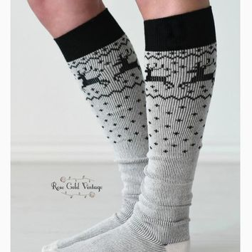 Reindeer Tall Socks