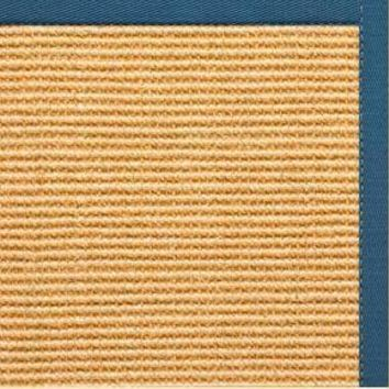 Tan Sisal Rug with Paradise Blue Cotton Border