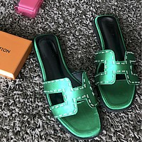 Hermes New Style Trending Women Summer H Type Crystal Diamond Satin Flat Soles Sandals Slippers Shoe Green
