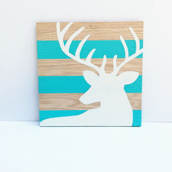 Wood Wall Art - Aqua and White Decor - Woodland Deer - Deer Art - Deer Head Art - Antler Decor - Wood Grain Art - Woodland Nursery - Buck