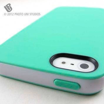 Apple iPhone 5 5s Mint Green/White Smooth Slim TPU Gel Cover/Bumper Hybrid Case