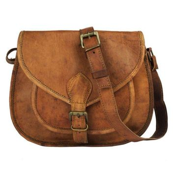 IN-INDIA Lichi Brown Pure Leather Casual Messenger Bag
