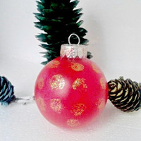 Red Christmas Ornament Handpainted With Golden Glitter Polka Dots Holidays Decor Christmas Tree Decoration Gift Under 15