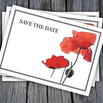 Beautiful Red Poppies Save The Date Digital Cards-Available for instant download